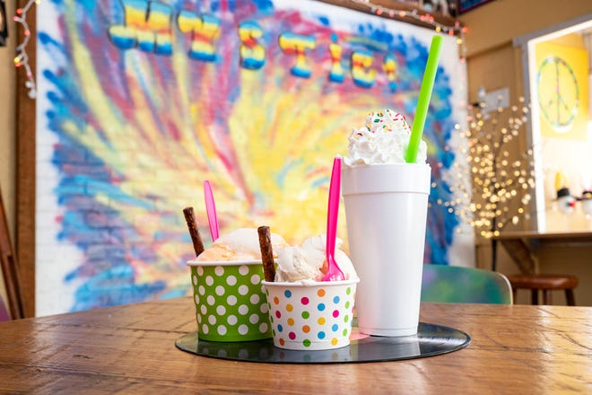 Mysic Ice Cream offers small, medium and large bowls of homemade ice cream and milkshakes. [Cindy Peterson/Correspondent]