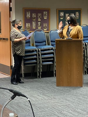 Blanca Soto was sworn in Monday night after commissioners selected her to the city commission. Soto is the first Hispanic woman to serve on the city commission.