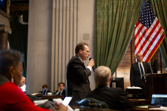 Sen. Joey Hensley, R-Hohenwald, speaks inside the Senate chamber at the Tennessee State Capitol on Wednesday, May 1, 2019.