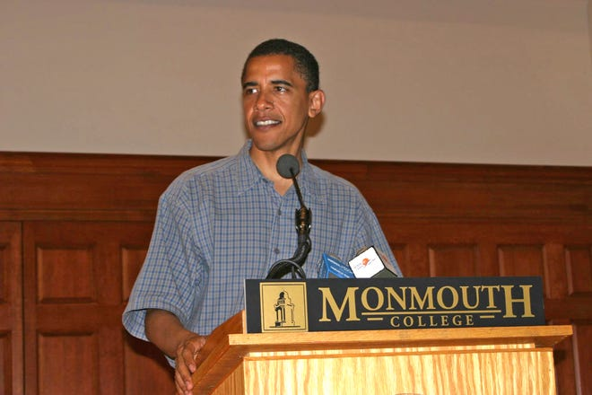 Future president Barack Obama spoke in Monmouth College's Dahl Chapel on July 31, 2004.
