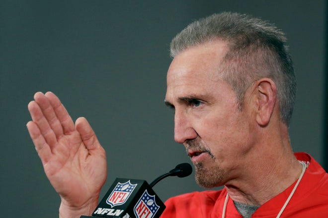 Kansas City Chiefs defensive coordinator Steve Spagnuolo addresses the media during a news conference at Arrowhead Stadium. Spagnuolo has experience facing Tom Brady-led offenses in the Super Bowl.