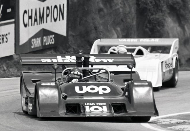 A Shadow DN2 Can-Am race car in action in period.