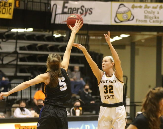 Whitney Randall shoots a jumper on Saturday against Nebraska-Kearney.