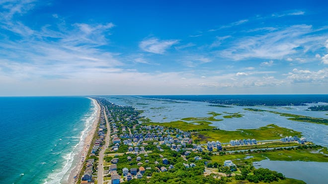 Aerial view of Surf City. Finding the right home near Camp Lejeune means relying on real estate experts who understand the unique needs of military families.