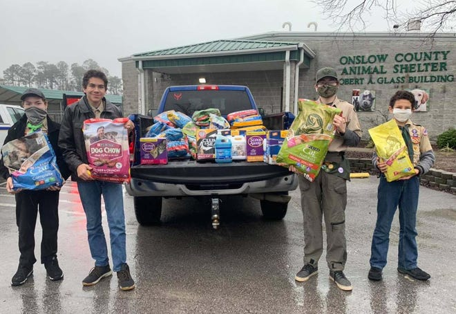 Cody recently organized a supply drive for the Onslow County Animal Shelter as part of earning his Eagle Scout award and brought over 1,300 pounds of food. Thanks to his and so many other donations, the pet food pantry is stocked up with Purina Dog and Puppy chow.