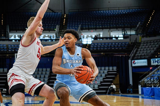 Bradley forward Rienk Mast had 17 points, but it was not enough to keep BU from a 67-55 loss to Indiana State in a Missouri Valley Conference rematch at Hulman Center on Monday, Feb. 1, 2021.