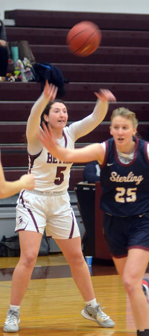 Bethel junior Josie Calzonetti makes a pass during play Monday against 14th-ranked Sterling.