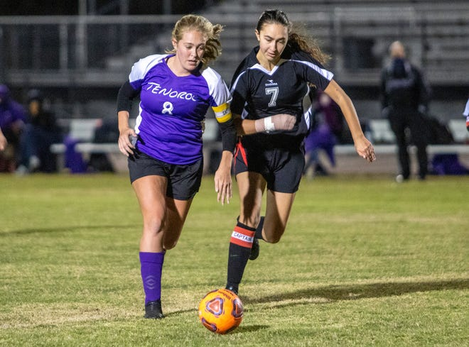Tenoroc senior Kaiden Hancock drives around Avon Park's Abigail Penfield en route to scoring her second goal of the game on Monday night in the Class 4A, District 12 girls soccer quarterfinals.