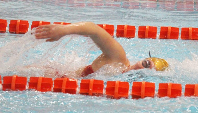 Gracie Moreland of the Arkansas Valley Swim Team in the anchor leg of the 200-meter freestyle in Saturday's meet against Salida. Moreland is one of three returning state qualifiers.