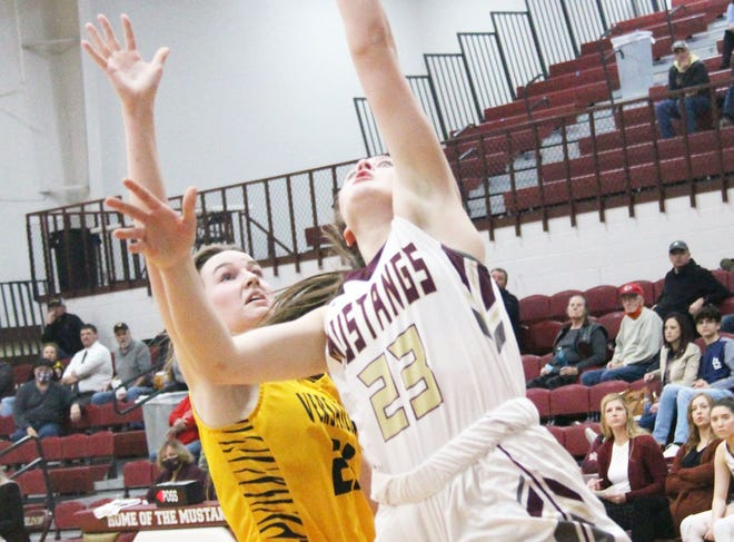 Eldon sophomore Haley Henderson goes up for a layup with Versailles sophomore Madison Foley in pursuit on Monday, February 1, in Eldon. Henderson finished with 18 points and Foley scored eight.
