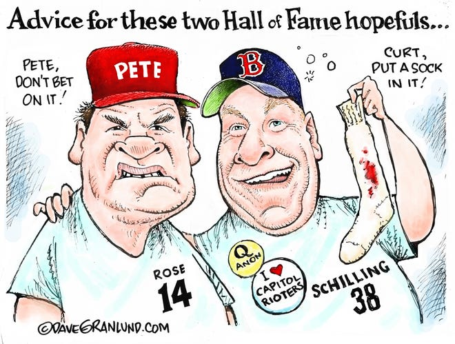 Dave Granlund cartoon on Hall of Fame hopefuls Pete Rose and Curt Schilling