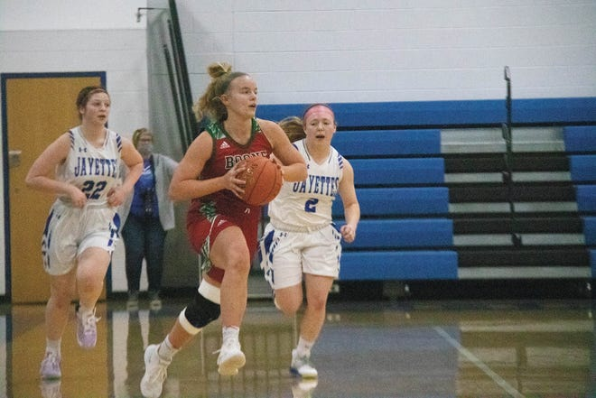 Boone's Emma Dighton looks to move the ball against the Jayettes on Monday, Feb. 1 in Perry.