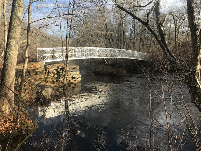 The Polly-Coon Bridge crosses the Pawcatuck River and connects Westerly and Hopkinton at the Grills Preserve, a 543-acre tract managed by the Westerly Land Trust.