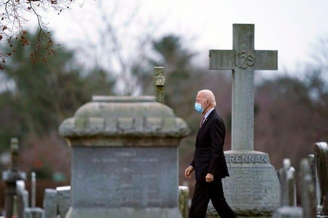 President-elect Joe Biden departs St. Joseph on the Brandywine Catholic Church in Wilmington, Del., the Saturday before his Jan. 20 inauguration. (Matt Slocum/AP, File)