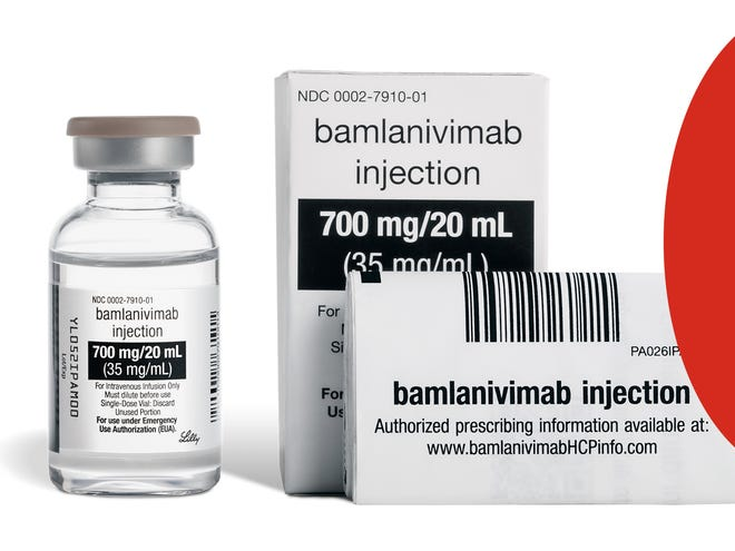 A vial of bamlanivimab