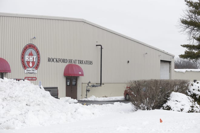 The roof at Rockford Heat Treaters, 4704 American Road, caught fire on Tuesday, Feb. 2, 2021. No one was injured.