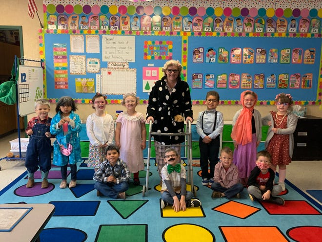 Mrs. Whitefield's pre-K class at South Rock Creek dressed as centenarians to celebrate the 100th day of school.