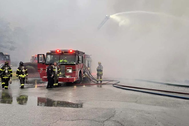 Emergency crews from multiple counties responded to a structure fire on Main Street in Shallotte on Monday morning.