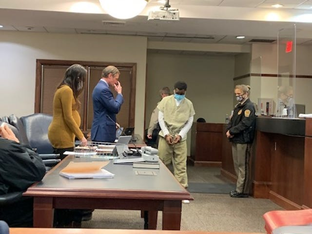 Quaymir Conyers at his first appearance for the alleged murder of Parish McNeil.