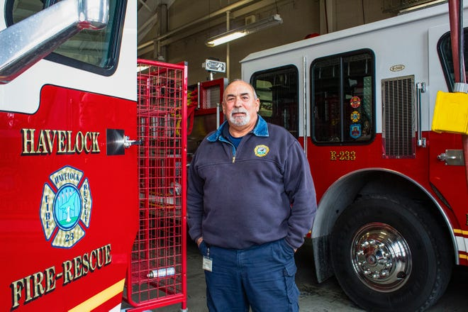 Havelock Fire/EMS Chief Rick Zaccardelli stands inside the West End Fire Station. He plans to retire on April 1 after a career spanning 30 years.
