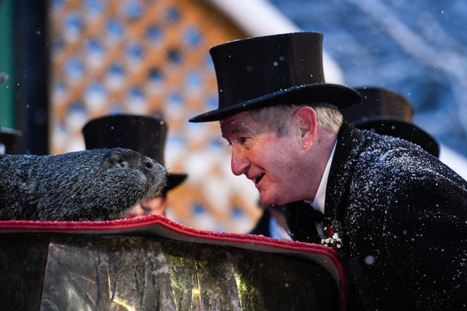 Groundhog Club President Jeff Lundy interacts with Punxsutawney Phil, the weather prognosticating groundhog, during the 135th celebration of Groundhog Day in Punxsutawney, Pa. Tuesday, Feb. 2, 2021. Phil's handlers said that the groundhog has forecast six more weeks of winter weather during this year's event that was held without anyone in attendance due to potential COVID-19 risks. (AP Photo/Barry Reeger)