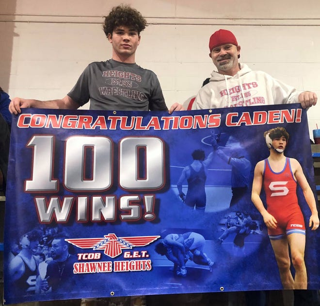 Shawnee Heights junior Caden Walker improved to 29-0 at 160 pounds last week and in the process posted his 100th career win.