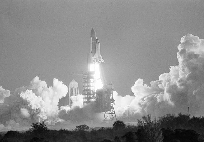 The space shuttle Challenger lifts off from Pad 39A, Feb. 3, 1984, at the Kennedy Space Center on the start of a nine day mission.  (AP Photo/Glenda Dixon)