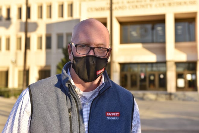 School board member Greg West attends a rally Tuesday Feb. 2, 2021, calling for Cumberland County Schools to reopen.