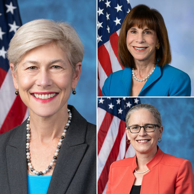 Democratic Congresswomen Deborah Ross, from clockwise, Kathy Manning and Carolyn Bourdeaux all flipped Republican seats in the November elections. Ross and Manning represent North Carolina's 2nd and 6th congressional districts, respectively. Bourdeaux, who has NC ties, represents Georgia's 7th congressional District.