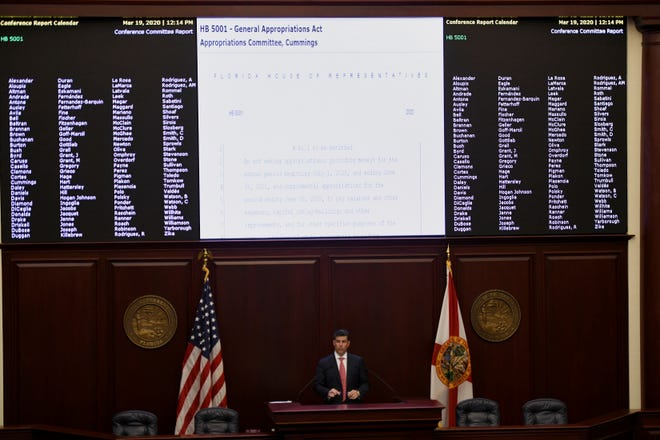 Florida House Speaker Jose Oliva, R-Miami Lakes, presides over a legislative session in 2020 in Tallahassee.