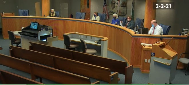 Alachua County commissioners meet in a special session Tuesday. They discussed how to implement the affordable housing trust fund approved by voters in November. [Screenshot by Emily Mavrakis]