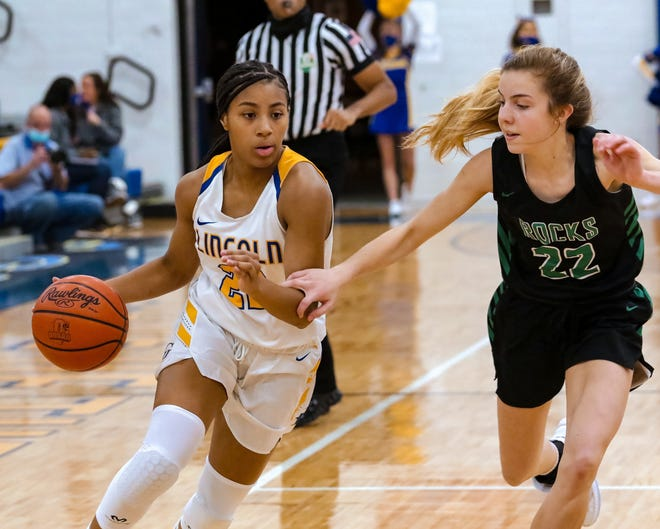 Gahanna's Clarke Jackson drives against Dublin Coffman's Jenna Kopyar earlier this season. Jackson, a sophomore, has helped the Lions overcome the loss of four starters from last season and earn the sixth seed for the Division I district tournament.