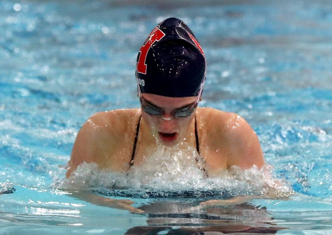 Hartley's Abby Di-Nardo finished second in the 100 breaststroke during the CCL meet Jan. 30 at St. Charles as the Hawks girls team finished runner-up to Watterson.