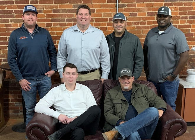 The new Howe Area Chamber board includes (Back row L-R):  Jared Coffey, treasurer, Monte Walker, president, Sergio Garcia, events coordinator, Brandon McKinney, membership director. (Front row L-R):  Robert Cannaday, vice president and Tom Defrange, secretary.