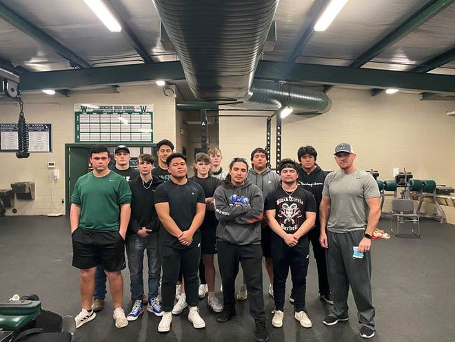 The Waxahachie High School powerlifting team poses after last Thursday's home meet. The Indians notched five first-place finishes.