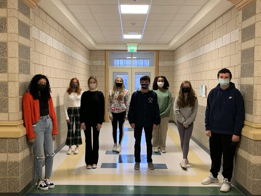 Forty-eight Plymouth North High School marketing students recently qualified for the state DECA competition. Among those qualifying are, from left, juniors Maya Galindo, Emily Jenkins, Lindsay Dyer, Annabella Eaton, Robert Cooney, Miranda Coleman, Katherine Donohoe, and Kevin Gorman.
