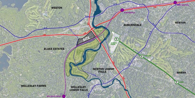 The 16-acre site is located near the borders of Newton and Wellesley and the Riverside T station.