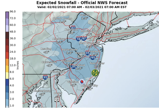 Between 1 to 2 inches of snow may still fall across the state as New Jersey's winter story begins to head out.