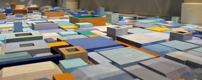 """A ground-level view of """"Blue,"""" an installation work by Margo Sawyer now on display at The Grace Museum."""