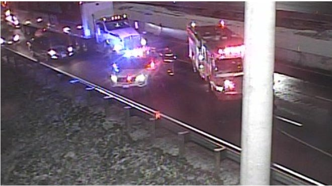 There is a semi crash with a fuel spill on South I-75 at I-74