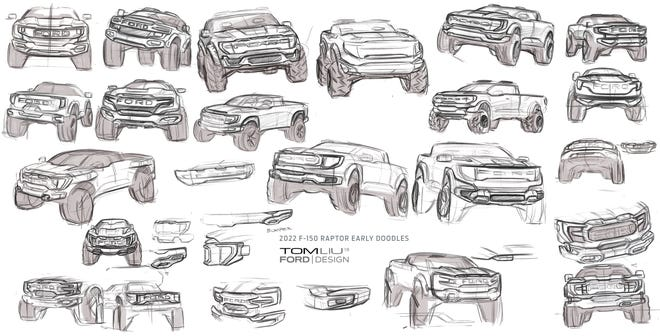 2021 Ford F-150 Raptor sketches by exterior designer Tom Liu.