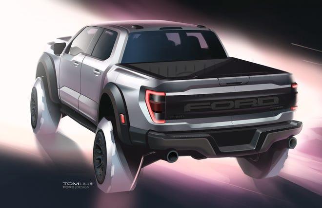 A sketch of the 2021 Ford F-150 Raptor by exterior designer Tom Liu.