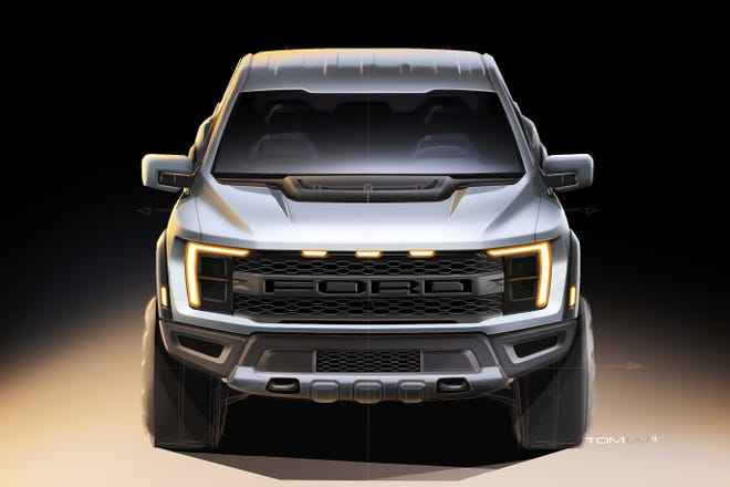 Sketch of the 2021 Ford F-150 Raptor by exterior designer Tom Liu.