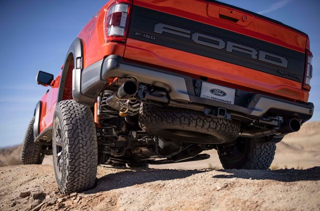 A new 5-link rear suspension and Fox shocks allow the 2021 Ford F-150 Raptor class-best 15 inches of wheel travel.