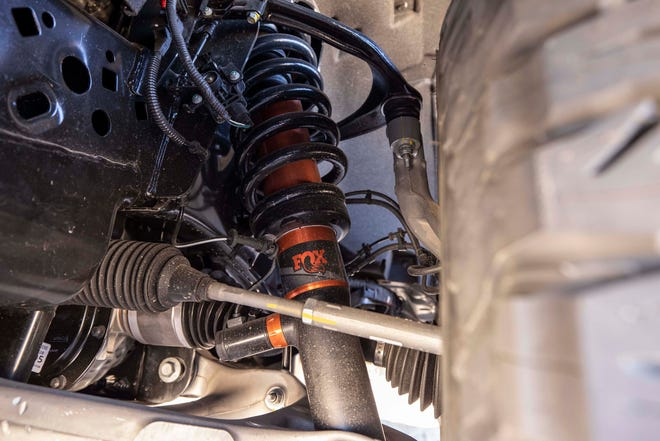 The new Fox shocks on the 2021 Ford F-150 Raptor are surrounded by new coil springs in the rear.