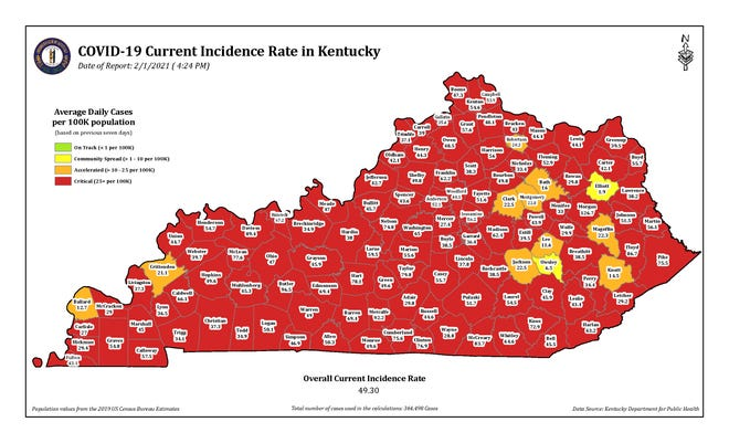 The COVID-19 current incidence rate map for Kentucky as of Monday, Feb. 1.