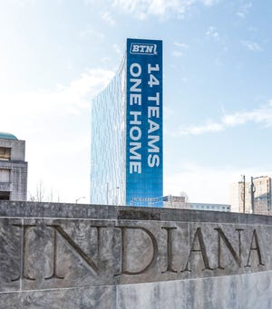 The JW Marriott sports advertising for the Big Ten Tournament in Indianapolis on Thursday, March 12, 2020.