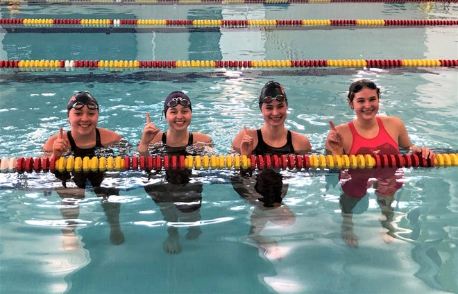The Fairfield Christian Academy girls won the Mid-State League-Buckeye/Cardinal Division championship last Saturday. From left to right: Grace Barnhart, Joanne Hildenbrand, Madi Burris and Emma Smeltzer were a part of the winning 200 medley and 400 freestyle to help lead the Lady Knights to the league title.