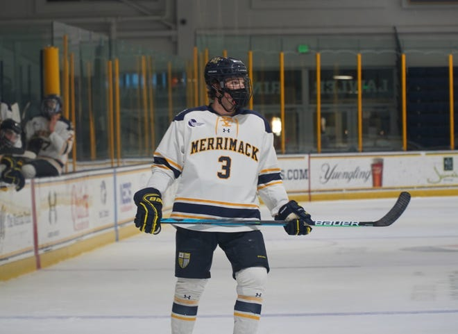 Declan Carlile of Hartland has one goal, two assists and a team-high 24 blocked shots through eight games for Merrimack College.