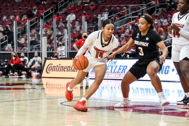 Louisville's Kianna Smith drives to the goal during a game against NC State on Monday.
